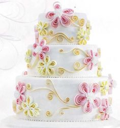 how to do fondant quilling Gorgeous Cakes, Pretty Cakes, Amazing Cakes, Fondant Cakes, Cupcake Cakes, Food Cakes, Quilling Cake, Quilling Work, Quilling Flowers