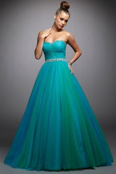 Pleats Beading Sweetheart Tulle Ball Gown Evening Dress