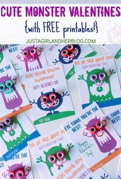 Super cute monster Valentines! Awesome non-candy option! | Just a Girl and Her Blog