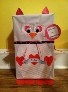 """valentine box for my youngest. Ours look much different but we used this one as a guide. It's her """"googly-eyed"""" owl"""