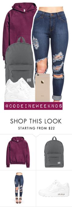"""""""1/1/16"""" by codeineweeknds ❤ liked on Polyvore featuring H&M, Herschel Supply Co., NIKE, women's clothing, women, female, woman, misses and juniors"""