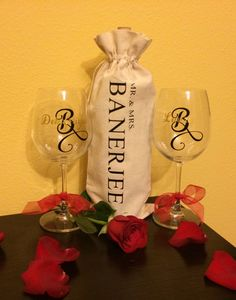 A personal favorite from my Etsy shop https://www.etsy.com/listing/259648565/personalized-wine-glasses-and-wine-bag