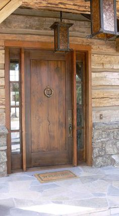 YT Custom Shop – front doors – other metro – Yellowstone Traditions - rustic farmhouse front door Entry Door With Sidelights, Entry Doors, House Front Door, House Doors, Front Door Design, Front Door Decor, Rustic Doors, Wooden Doors, Farmhouse Front
