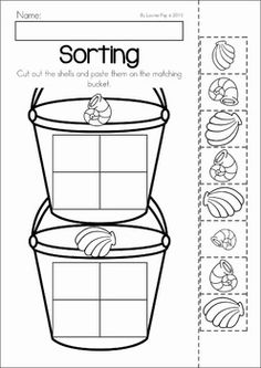Summer Review Preschool No Prep Worksheets & Activities. Sorting shells cut and paste activity.