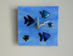 SPECIAL SALE - Under the Sea Fused Glass Wall or Desk Clock, Original Art Piece