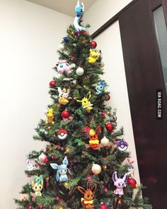 Me and my hubby's very first Christmas tree is Pokemon-themed! Christmas Pokemon, Funny Christmas Tree, Family Christmas Gifts, Christmas Tree Themes, Xmas Tree, Christmas Humor, Christmas Holidays, Christmas Ornaments, Holiday Decor