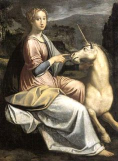 Barbara Longhi c.1595, Lady with a Unicorn, appears to be a copy from Luca Longhi's painting of Julia Farnese with a unicorn