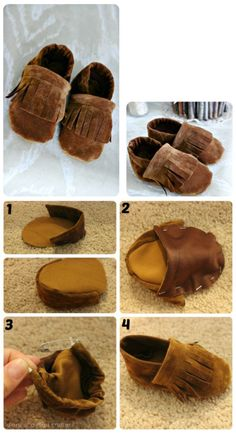 Cute DIY Baby Shoes Ideas +Tutorial - All For Fashions - fashion, beauty, diy, crafts, alternative health Source by johnprisk ideas diy Sewing For Kids, Baby Sewing, Diy For Kids, Barbie E Ken, Barbie House, Baby Moccasin Pattern, Couture Bb, Baby Moccasins, Shoe Pattern