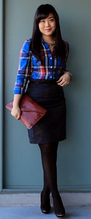 plaid with skirt, black tights combo