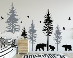 Large Woodland Pine Tree Decals - Five Individual Trees with Animals Decal for Nursery Tree Decal Nursery, Baby Room Decals, Nursery Wall Murals, Tree Decals, Bedroom Murals, Mural Wall Art, Window Decals, Nursery Room, Kids Bedroom