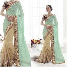 Sky Blue and Cream with Designer saree and Blouse. Product Number:NRNS-HC3821
