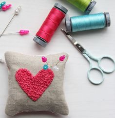 V and Co. how to make french knots and a cute little pin cushion for your sewing room