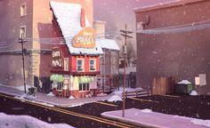 Tumblr Street Background, Cartoon Background, Animation Background, Game Environment, Environment Concept Art, Environment Design, Color Script, House Illustration, Visual Development