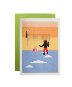 Beach Volleyball greeting card   by MrJaggers on Etsy