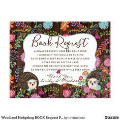 Woodland Hedgehog BOOK Request Poem 4 Baby Shower Postcard