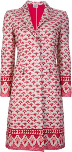 Red and white cotton coat from Philosophy Di Alberta Ferretti featuring notched lapels, long sleeves, a concealed front fastening, two flap pockets, a single rear vent, fully lined and a repetitive print detail.
