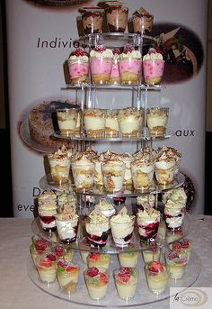 Great alternative to large desserts - why not order La Creme Mini Dessert Cups for your next party. Available in a variety of flavours and beautifully displayed on our dessert tower, the cups are a fantastic centre piece for any. Mini Desserts, Mini Dessert Cups, Wedding Desserts, Dessert Bars, Dessert Recipes, French Desserts, Shot Glass Desserts, Individual Desserts, Wedding Cakes