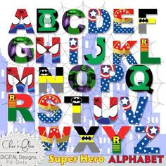 SUPERHERO ALPHABET LETTERS - Superhero Designed Letters, 8.5x11, 300dpi High Resolution png File - Instant Download by DigitalPackages on Etsy
