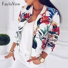 Cheap Basic Jackets, Buy Directly from China Suppliers:Women Coat Fashion Ladies Retro Floral Zipper Up Bomber Jacket Casual Coat Autumn Outwear Women Clothes Floral Bomber Jacket, Lace Jacket, Jacket Style, Print Jacket, Jacket Dress, Coats For Women, Jackets For Women, Clothes For Women, Cheap Clothes