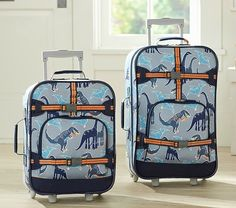 This Pottery Barn Kids luggage is made specifically for boys and has a cute dinosaur pattern.