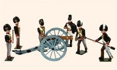 B2A Toy Soldiers Set The Royal Troops of the Artillery An Officer, five Gunners and a 9 pdr. gun, 1815 54mm British troops Napoleonic Wars Price code S All hand painted Toy Soldier sets packed in Red Boxes. Cast in quality white metal, hand painted gloss enamels. Available as unpainted casting, kit with colour photo .