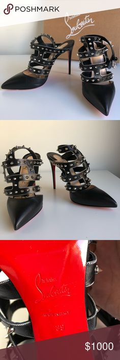 """Christian Louboutin Pumps Brand new Christian Louboutin Tchicaboum Studded Leather Pump, Black/Silver Silvertone chain and studded trim. 3.3"""" covered heel. Pointed toe. Caged vamp. Adjustable ankle strap. Signature red leather outsole. """"Tchicaboum"""" is made in Italy. Christian Louboutin Shoes Heels"""