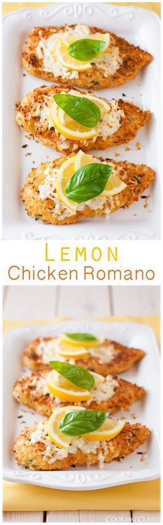 COOKING CLASSY - Lemon Chicken Romano - this is one of my favorite ways to make chicken! It's so flavorful and delicious! Yummy Recipes, Cooking Recipes, Healthy Recipes, Recipies, Cooking Ideas, Healthy Foods, Cooking Gadgets, Lemon Recipes, Cooking Utensils