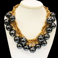 VINTAGE CHUNKY DARK GREY FAUX PEARL GLASS NECKLACE ON THICK GOLD TONE CHAIN #Unbranded #Statement