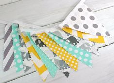 Bunting, Banner, Photography Prop, Fabric Flags, Elephant Baby Nursery Decor, Birthday Decoration - Elephants, Gray, Yellow, Mint Green by thespottedbarn, $32.50