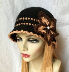 Knit Crochet Hat for Woman. Stylish Womens Hat. Black Cloche. Teens. Hand-crocheted in acrylic yarn embellished with a crocheted flower. Want a