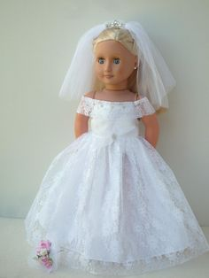 Luxury18 inch doll white lace wedding dress outfit tiara veil