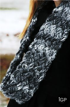 Loom Knitted Faux Woven Cowl Long ♥LLKW♥ with video