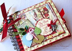 Beautiful Christmas Recipe Album by Gloria Stengel using a mix of Crafty Secrets papers and images from Vintage Christmas CD 6 and Kitchen Memories Digital Kit with some other designs but she has a full list with links at end. So many fantastic photos showing several pages with ideas. Altered with many collage and ephemera layers but all very tastefully done.