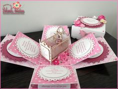 Baby Girl Exploding Box Card with Cot