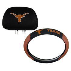 Texas Longhorns Steering Wheel & Head Rest Cover Set, Multicolor