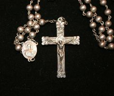 Sterling Silver Rosary With Ornate Crucifix and Center Piece is Sacred Heart of Jesus and the reverse side is the Immaculate Heart of Mary. Jesus Please Help Me, Jesus Crist, Heart Of Jesus, Rosaries, Granddaughters, Sacred Heart, Crucifix, Catholic, Mary