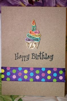 Birthday Card with Quilled Rainbow Cupcake, Ribbon, and Glitter. $6.50, via Etsy.