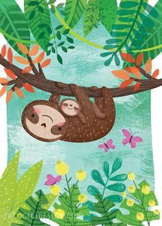 Maldonado Cute Sloth, Baby Sloth, Nature Illustration, Baby Illustration, Painting For Kids, Drawing For Kids, Art For Kids, Sloths, Sloth Drawing