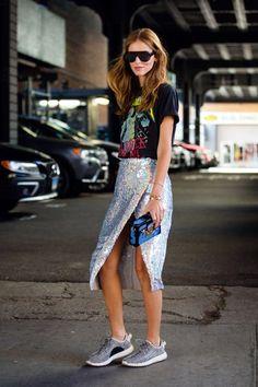 Inspiración De Estilo Para Tú Próximo Look: Lentejuelas New York Street Style, Street Style 2016, Street Style Looks, Street Style Women, Ny Fashion Week, Street Fashion, Star Fashion, Look Fashion, Sequin Outfit