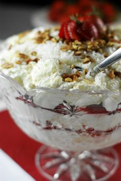 Southern Strawberry Coconut Punch Bowl Cake  ~Layers of angel food cake, whipped cream, fresh strawberries, & coconut.