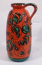 Large German Scheurich painted ceramic floor vase with handle, red ground w