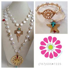 Pearl necklaces and bracelets