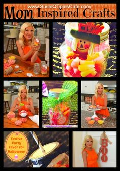 Get Crafty with Halloween Candy & Fall Treats and Tori Spelling - love these candy corn ideas! #StarburstCandyCorn #sponsored