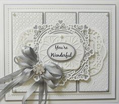 Hi bloggers! Here is the first full post using some of the latest die release! I have embossed a piece of coconut white card with the new Pinpoint folder called Dot Matrix. I cut it into three pan