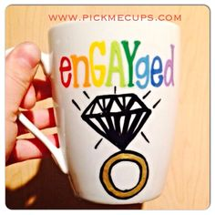 Engayged- hers and hers- His and His coffee mug - Hand-painted. Gay wedding - gay pride- en-gay-ged- engayged (29.00 USD) by PickMeCups