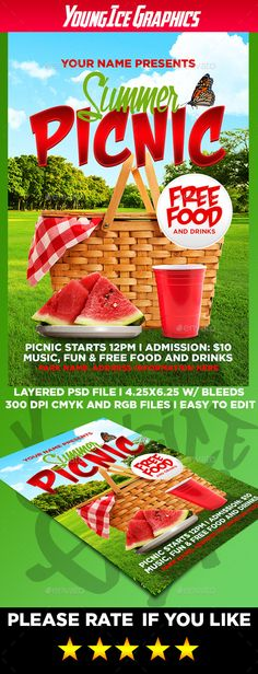 Picnic Time Poster with Different Food and Drink Drinking - picnic flyer template