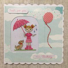 Cross stitch card / handmade card / embroidered card / Birthday card by BunnybearDesignsUK on Etsy