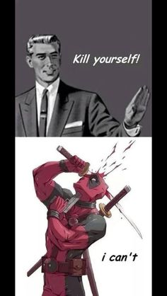 Deadpool can't kill himself Deadpool Love, Deadpool Funny, Marvel Funny, Marvel Memes, Funny Comics, Deadpool Stuff, Dead Pool, Marvel Dc Comics, Marvel Avengers