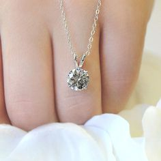 April Birthday - Lab-Created Engagement Rings are the perfect gift | Diamond Hybrid Baske Pendant | MiaDonna