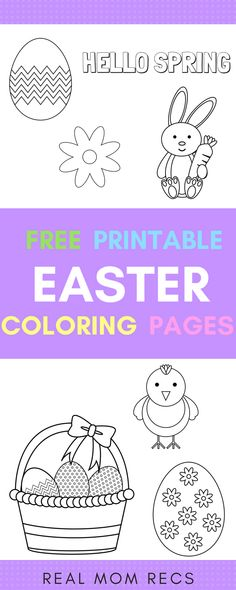 4 free printable Easter coloring pages- just download and print! Cute and easy designs to color so even the youngest kids can enjoy. Pictures include eggs, bunny rabbit, flower, and chick. #printables #coloringpages #kidscrafts